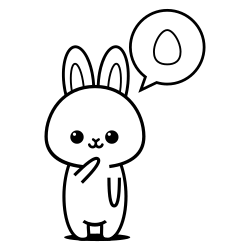 Bunny thinking about egg