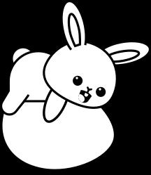 Cute bunny lying on egg