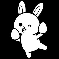 Little rabbit holding two eggs