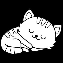 Sleeping kawaii cat coloring page