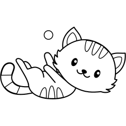Cat playing coloring page