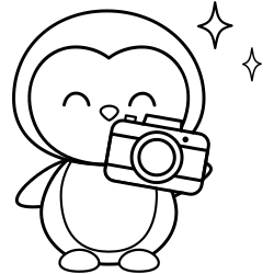 Photographer penguin coloring page