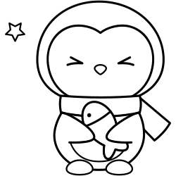 Penguin with fish coloring page