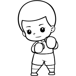 Boxing kid coloring page