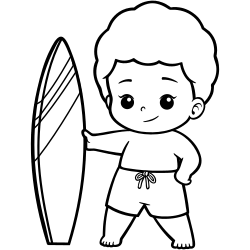 Surfing kid coloring page