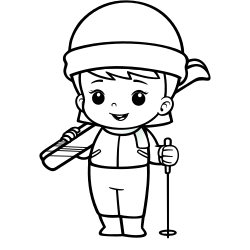 Skiing coloring page