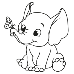 Little elephant with butterfly
