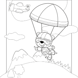 Bear jumping with parachute