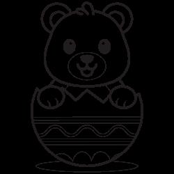 Cute baby bear in egg