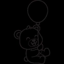 Baby bear holding balloon