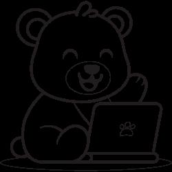 Cute bear using laptop