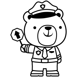 Bear holding traffic sign