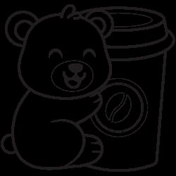 Bear likes drinking coffee