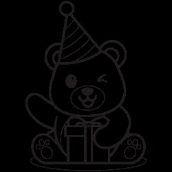 Cute bear opening present