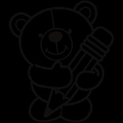 Bear holding a pencil