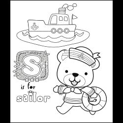 Sailor bear coloring