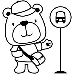 Bear waiting for bus
