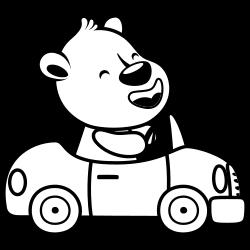 Bear driving car