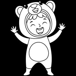 Little boy wearing bear costume