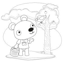 Bear speaking to bird