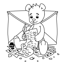 Bear writing a letter