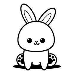 Cute sitting bunny coloring page
