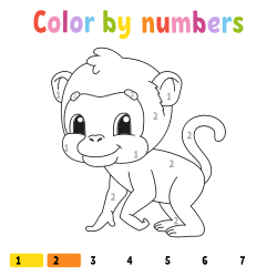 Monkey coloring page by number
