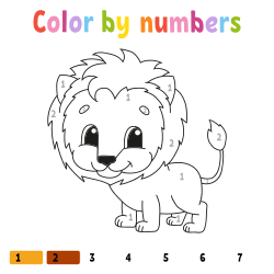 Lion coloring page by number
