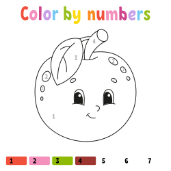 Cute apple coloring page by number