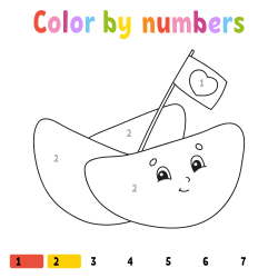 Fruits coloring page by number
