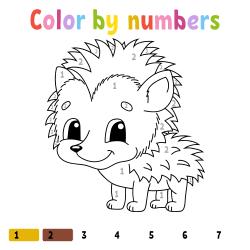 Hedgehog coloring page by number