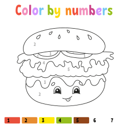 Hamburger coloring page by number
