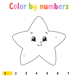 Star coloring page by number