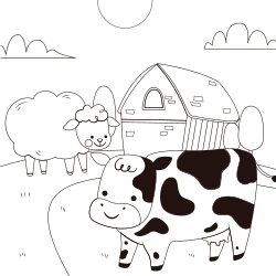 Cow and a sheep in farm