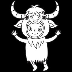 Little boy wearing cow costume