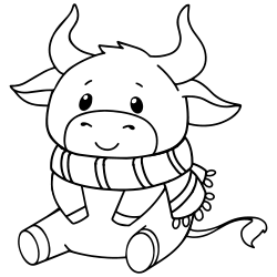 Baby cow with a scarf