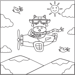 Pilot cow in the sky