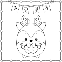 Deer doodle coloring