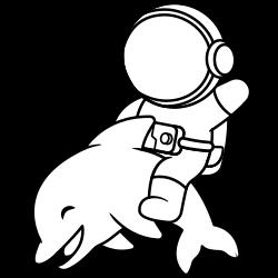 Astronaut riding dolphin