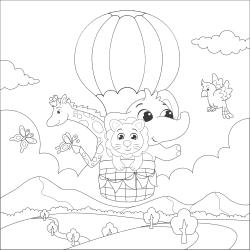 Elaphant and friends in an air balloon