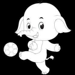Elephant playing soccer