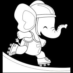 Skating elephant coloring