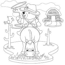 Bear cowboy on horse