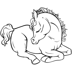 Sitting horse coloring