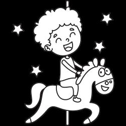 Kid riding horse in fun fair
