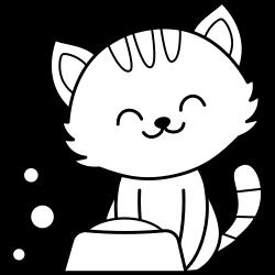 Kawaii cat eating