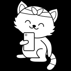 Selfie kawaii cat coloring page