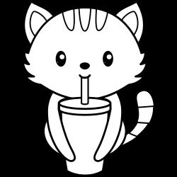 Kawaii cat drinking