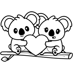 Cute koala couple