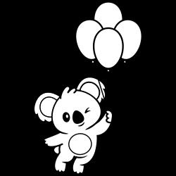 Cute koala with balloons